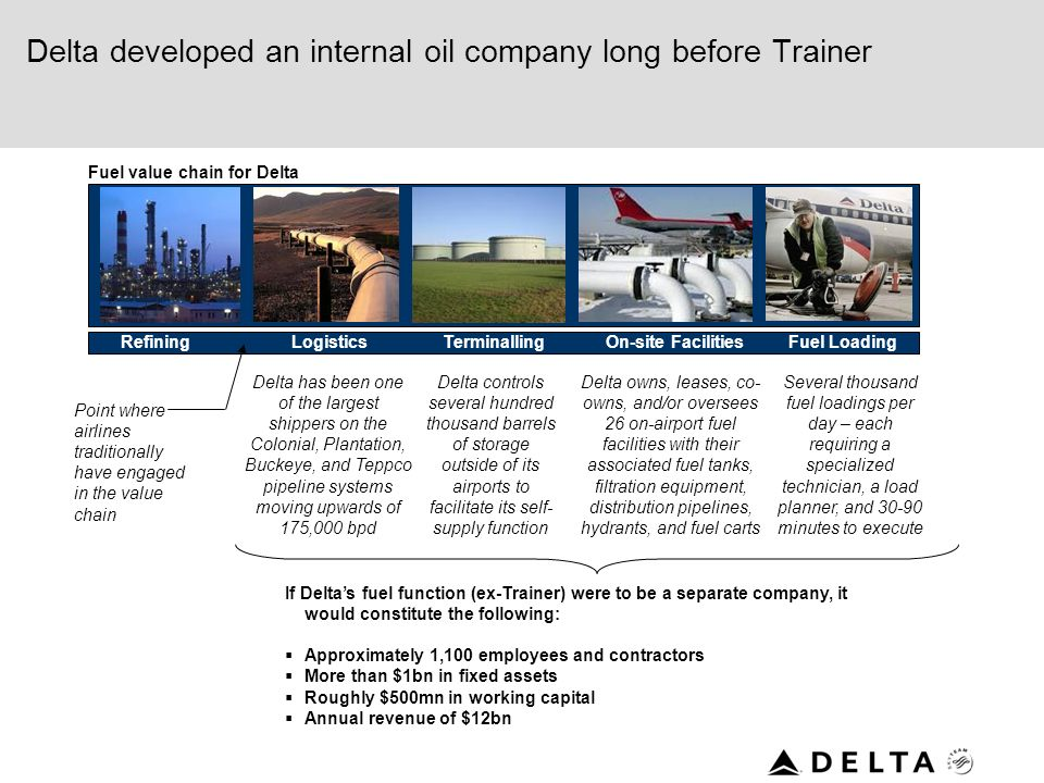 Delta developed an internal oil company long before Trainer