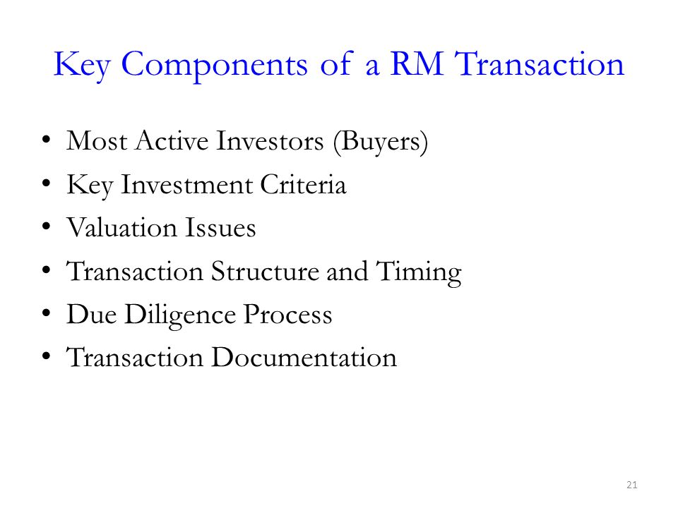 Key Components of a RM Transaction