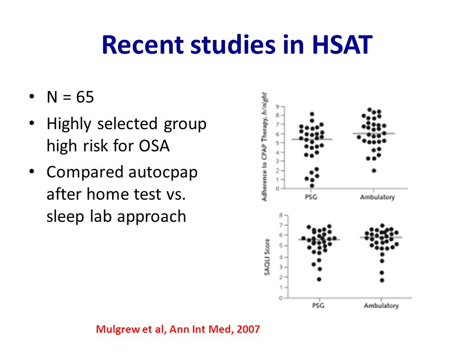 Recent studies in HSAT N = 65 Highly selected group high risk for OSA