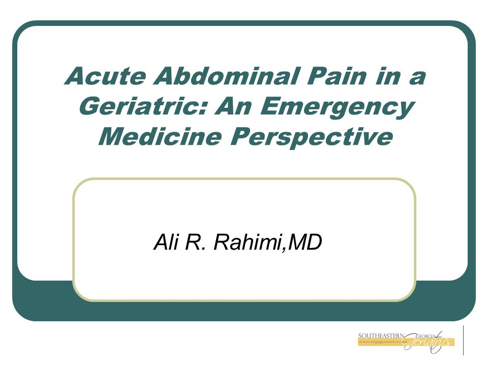 Acute Abdominal Pain in a Geriatric: An Emergency Medicine Perspective