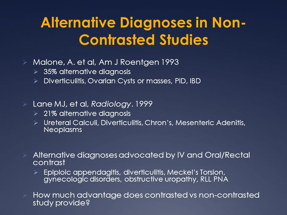 Alternative Diagnoses in Non-Contrasted Studies