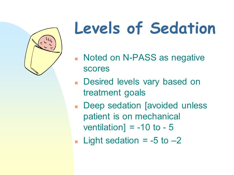 Levels of Sedation Noted on N-PASS as negative scores