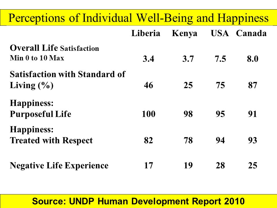Perceptions of Individual Well-Being and Happiness