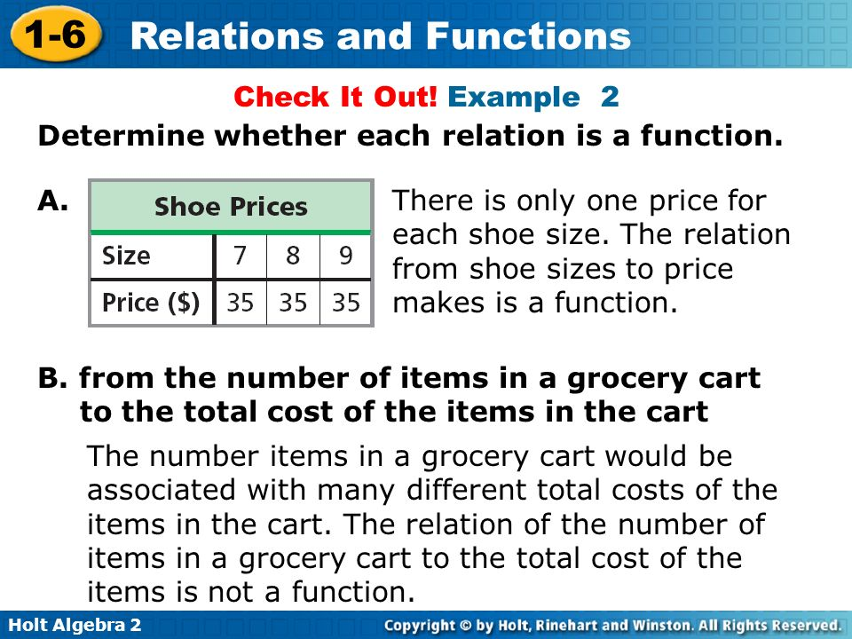 Check It Out! Example 2 Determine whether each relation is a function. A.