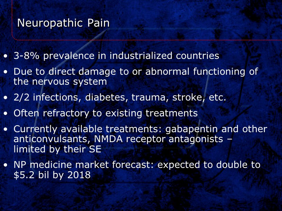 Neuropathic Pain 3-8% prevalence in industrialized countries