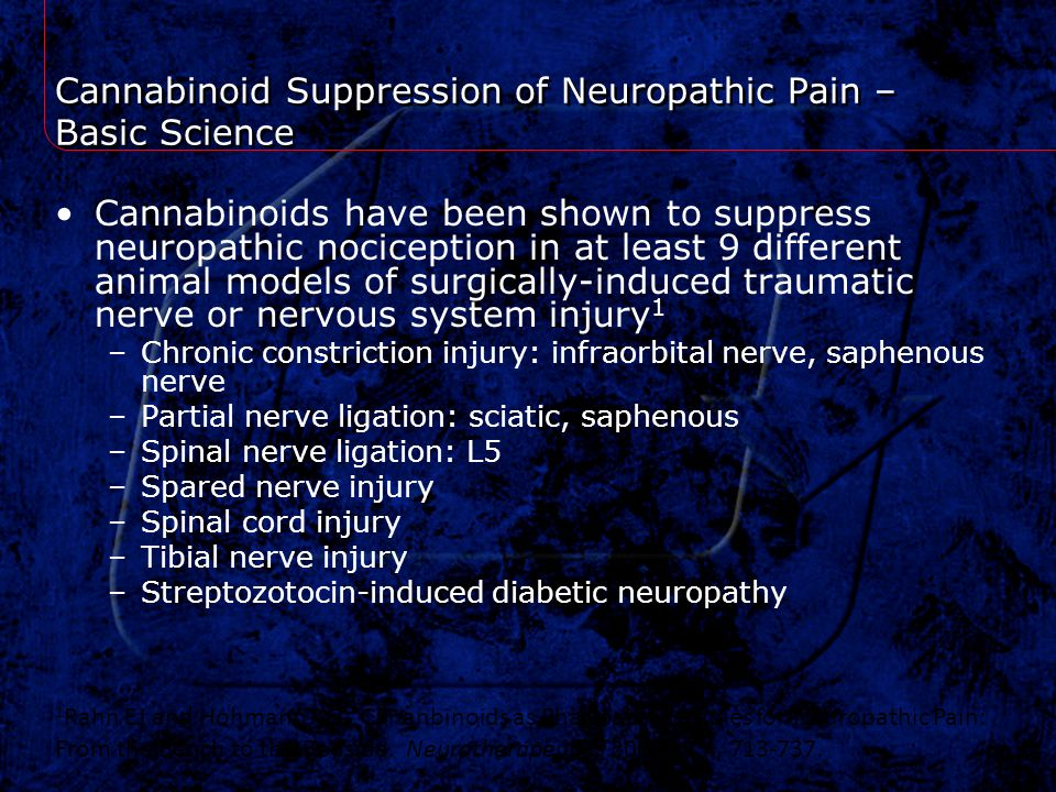 Cannabinoid Suppression of Neuropathic Pain – Basic Science