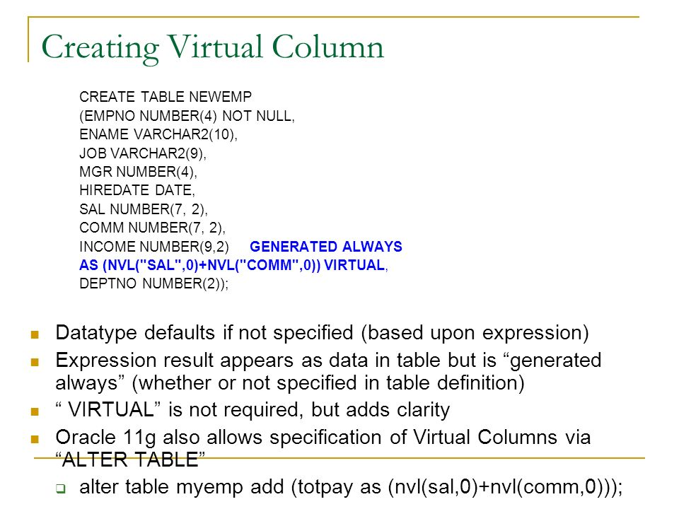 Creating Virtual Column