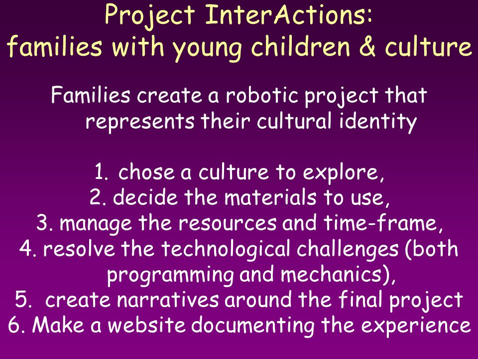 Project InterActions: families with young children & culture