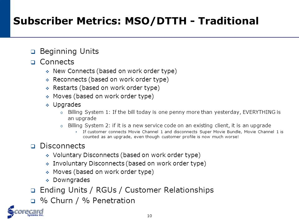 Subscriber Metrics: MSO/DTTH - Traditional