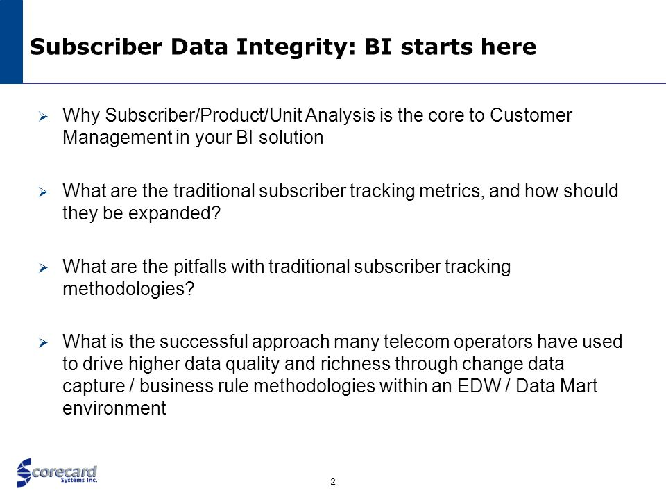 Subscriber Data Integrity: BI starts here