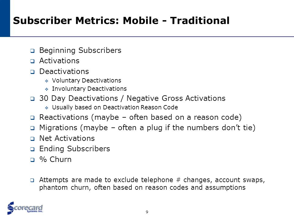 Subscriber Metrics: Mobile - Traditional