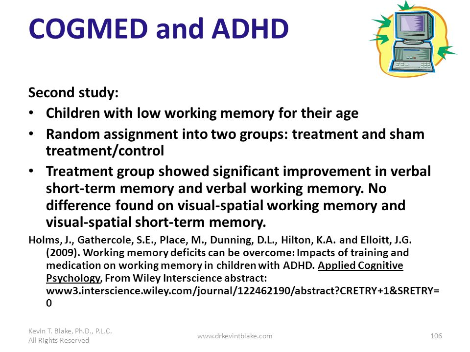 COGMED and ADHD Second study: