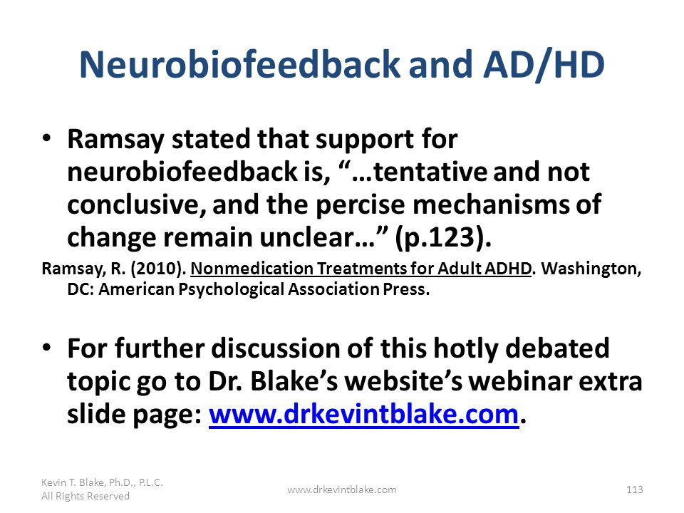 Neurobiofeedback and AD/HD