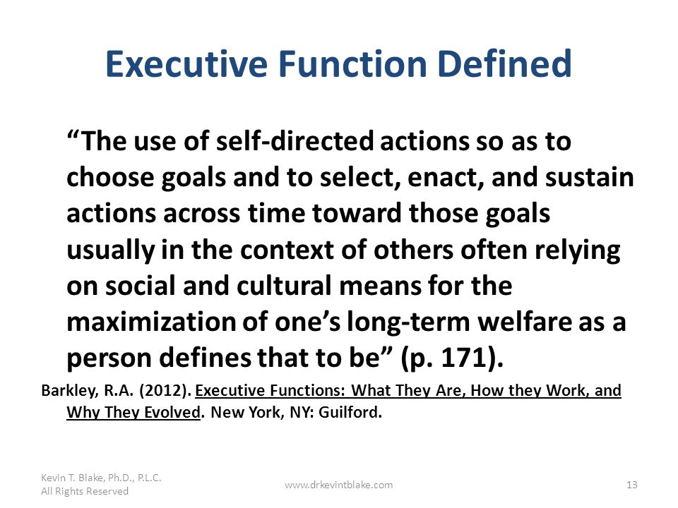 Executive Function Defined