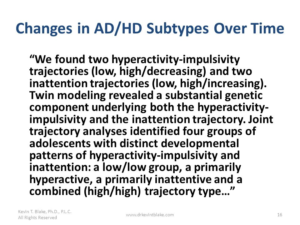 Changes in AD/HD Subtypes Over Time