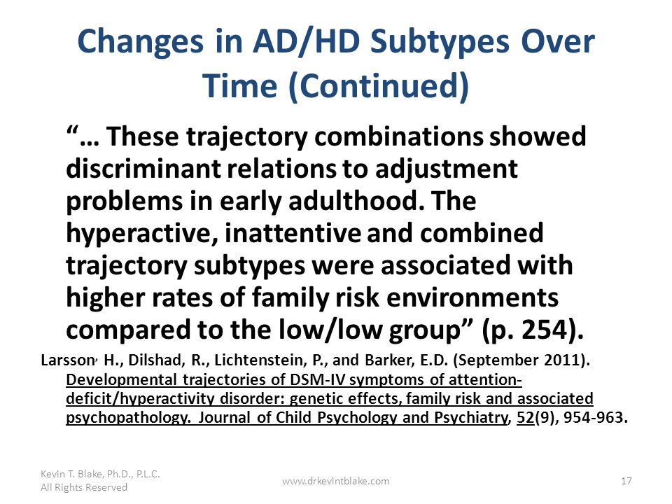 Changes in AD/HD Subtypes Over Time (Continued)