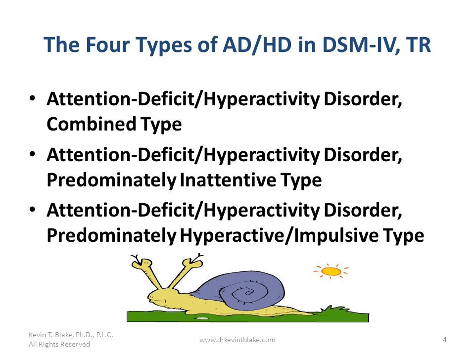 The Four Types of AD/HD in DSM-IV, TR