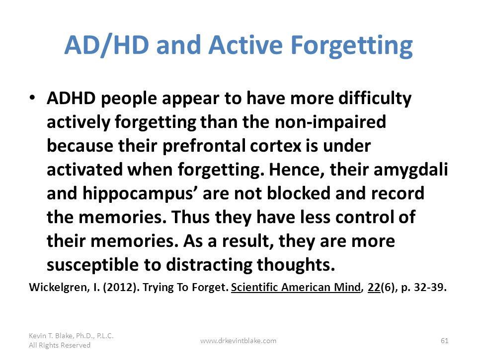 AD/HD and Active Forgetting