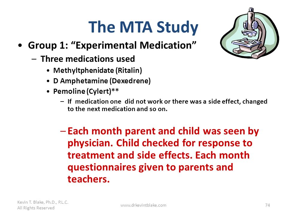 The MTA Study Group 1: Experimental Medication