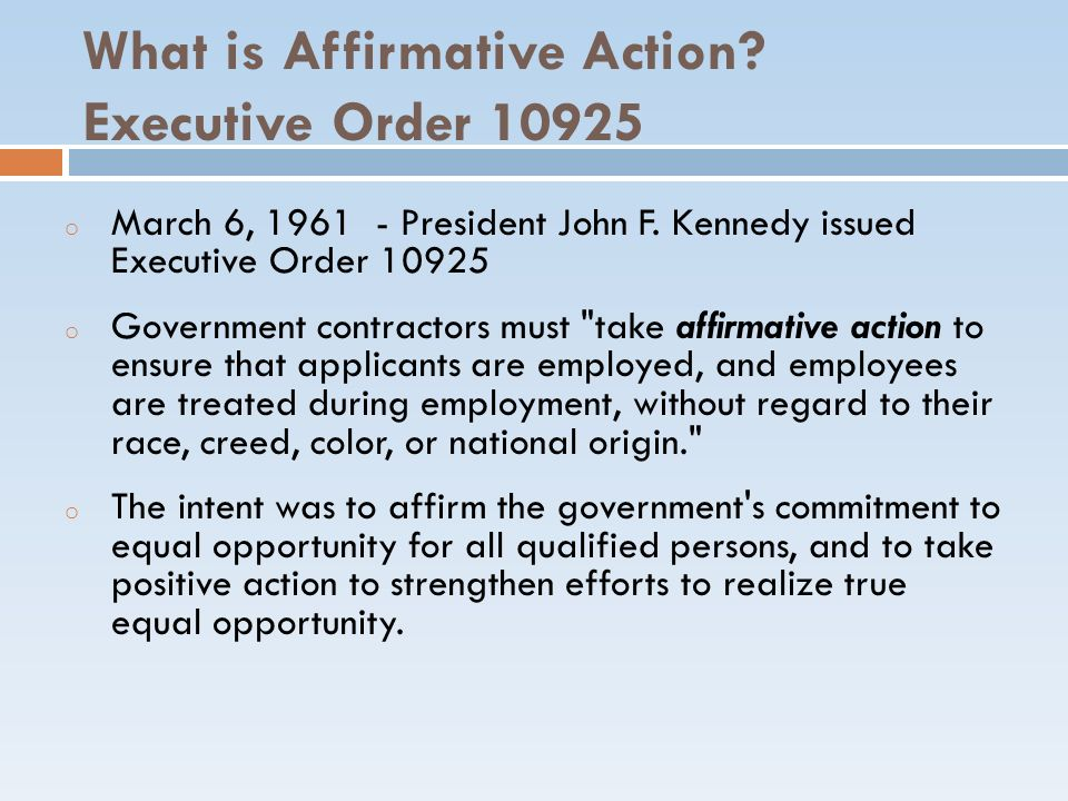 What is Affirmative Action Executive Order 10925