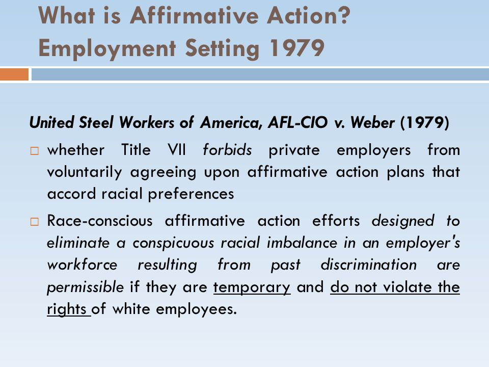 What is Affirmative Action Employment Setting 1979