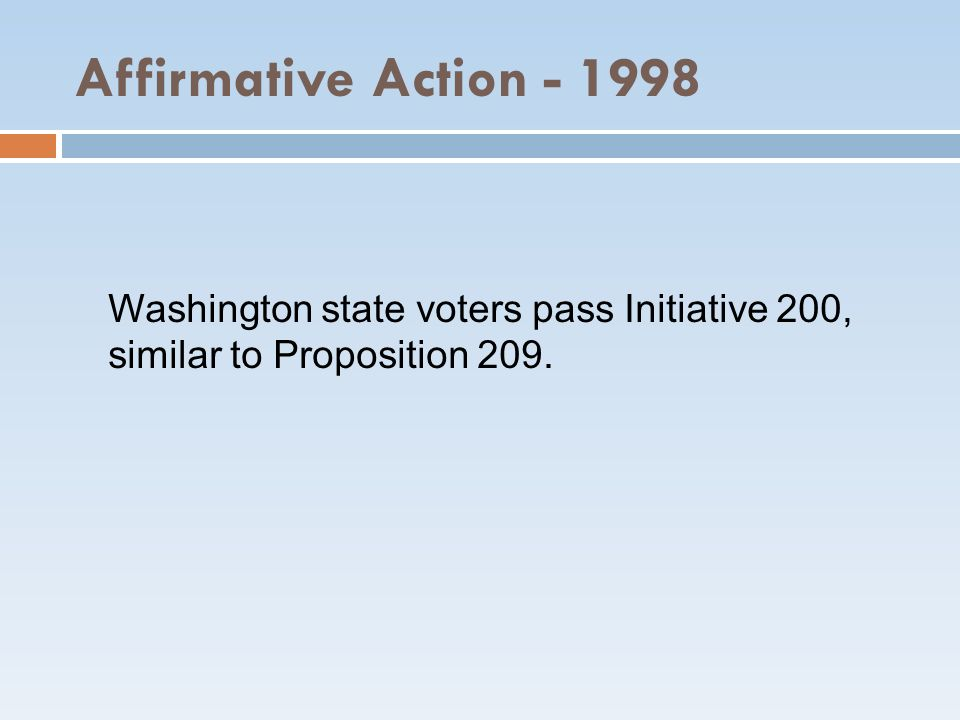 Affirmative Action Washington state voters pass Initiative 200, similar to Proposition 209.