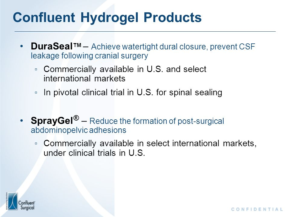 Confluent Hydrogel Products
