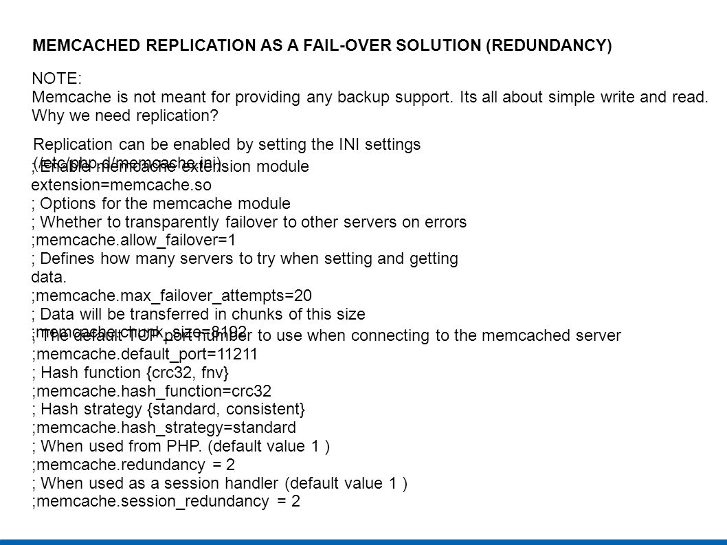 MEMCACHED REPLICATION AS A FAIL-OVER SOLUTION (REDUNDANCY)‏