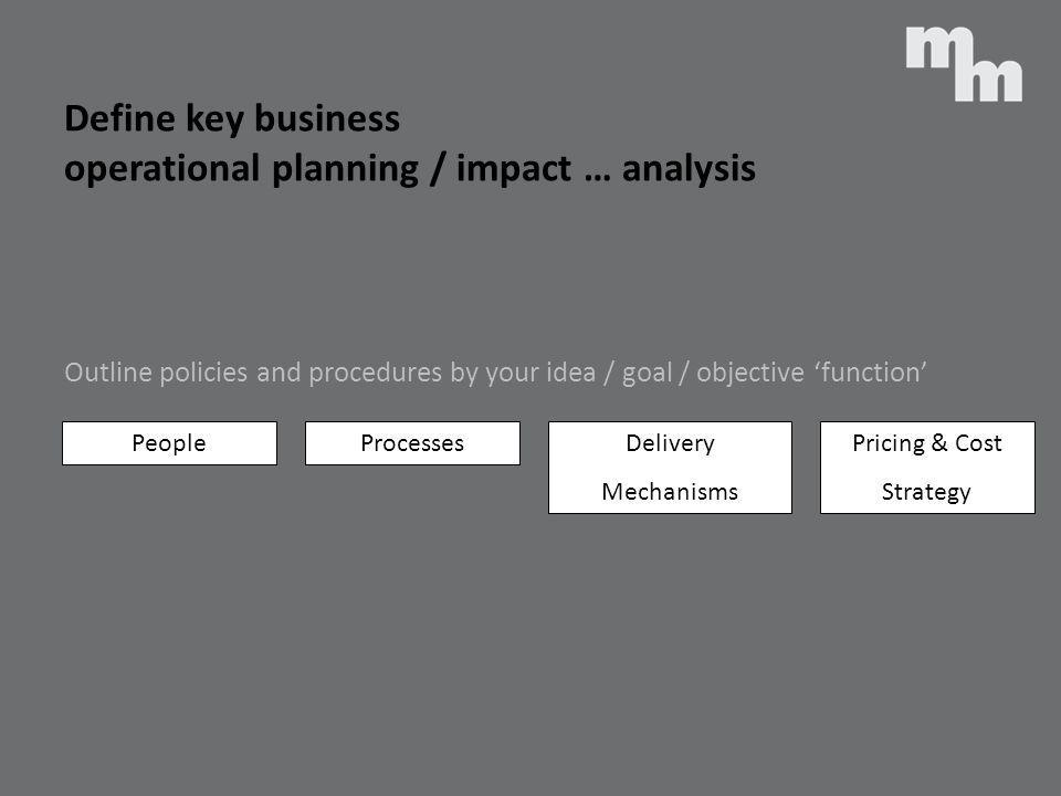 Define key business operational planning / impact … analysis
