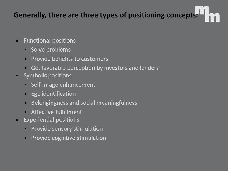 Generally, there are three types of positioning concepts: