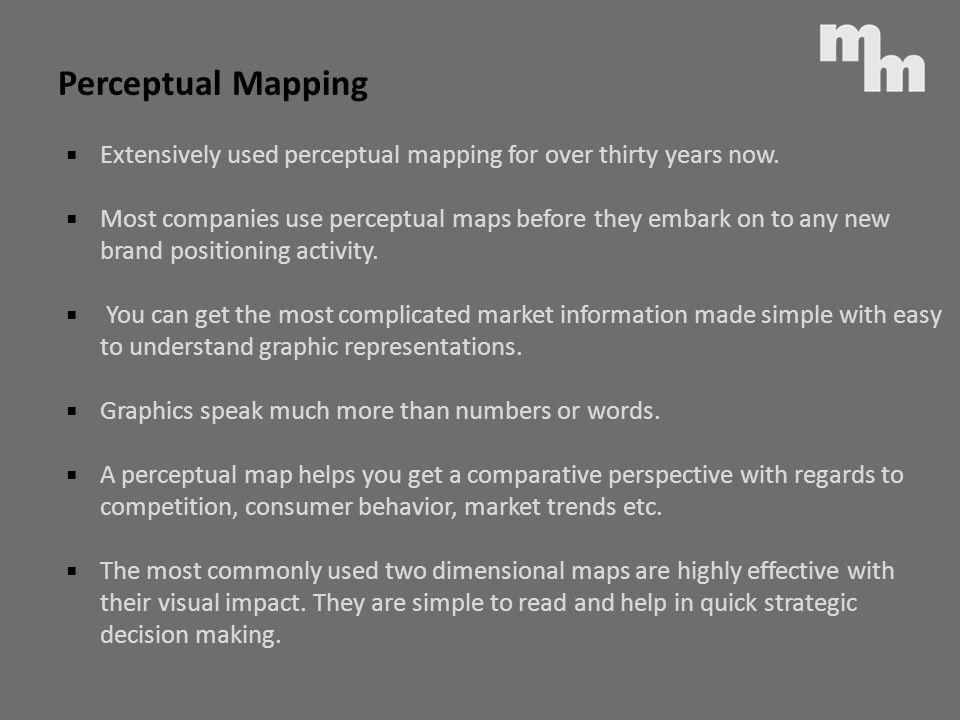 Perceptual Mapping Extensively used perceptual mapping for over thirty years now.
