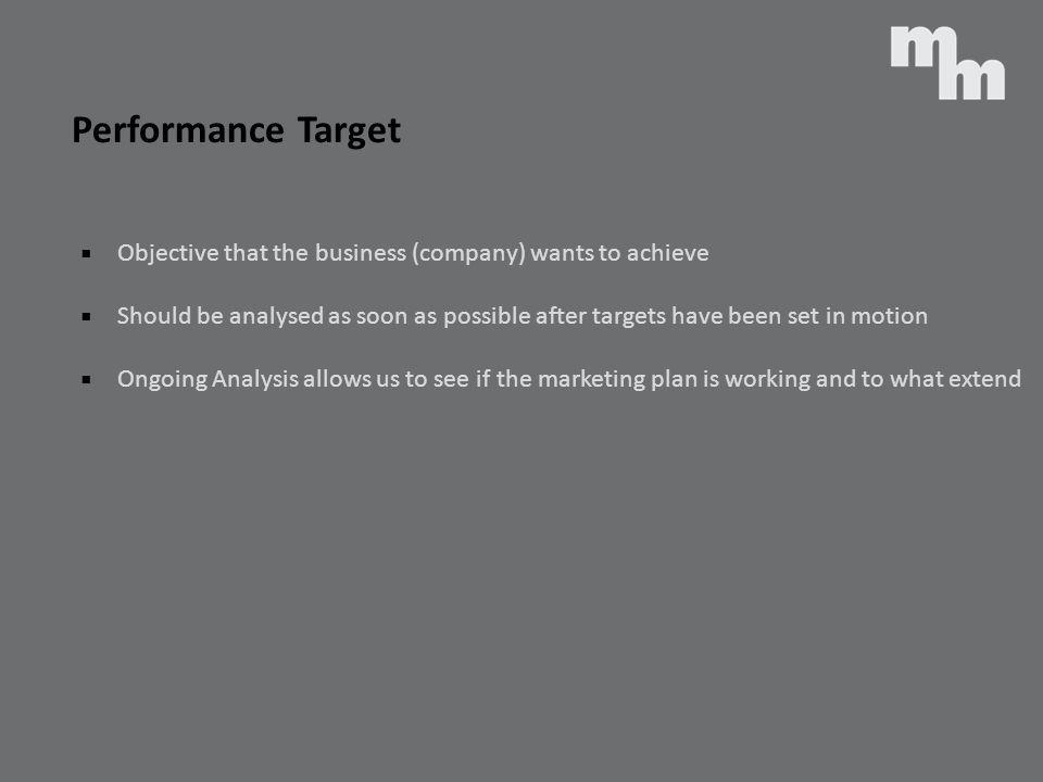 Performance Target Objective that the business (company) wants to achieve.