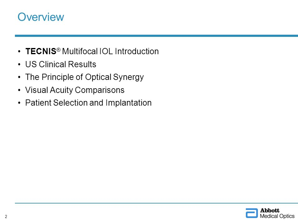 Overview TECNIS® Multifocal IOL Introduction US Clinical Results