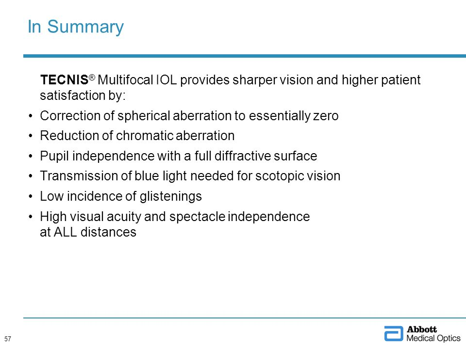 In Summary TECNIS® Multifocal IOL provides sharper vision and higher patient satisfaction by: Correction of spherical aberration to essentially zero.
