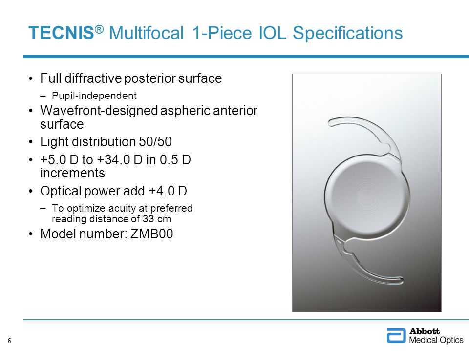 TECNIS® Multifocal 1-Piece IOL Specifications