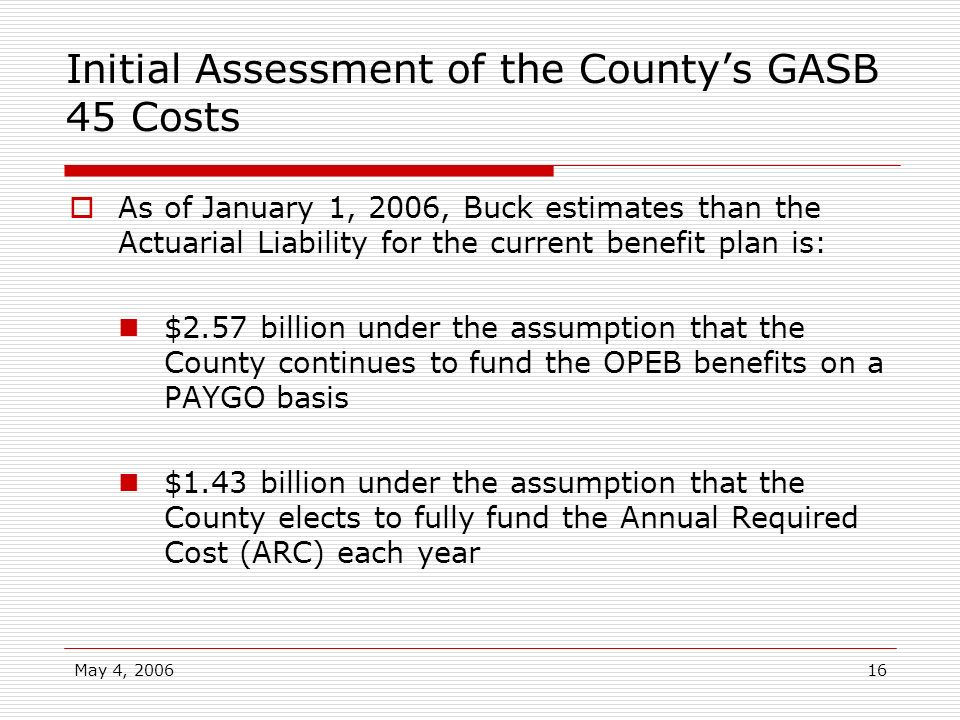 Initial Assessment of the County's GASB 45 Costs