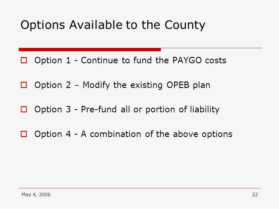 Options Available to the County
