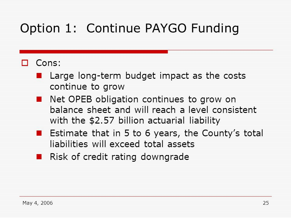 Option 1: Continue PAYGO Funding