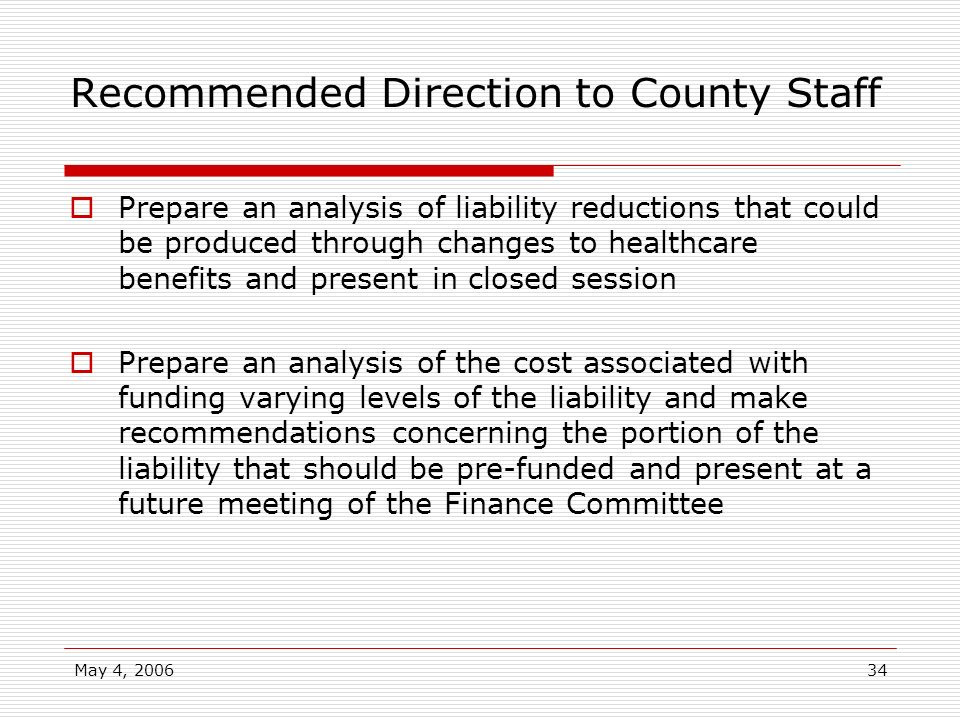 Recommended Direction to County Staff