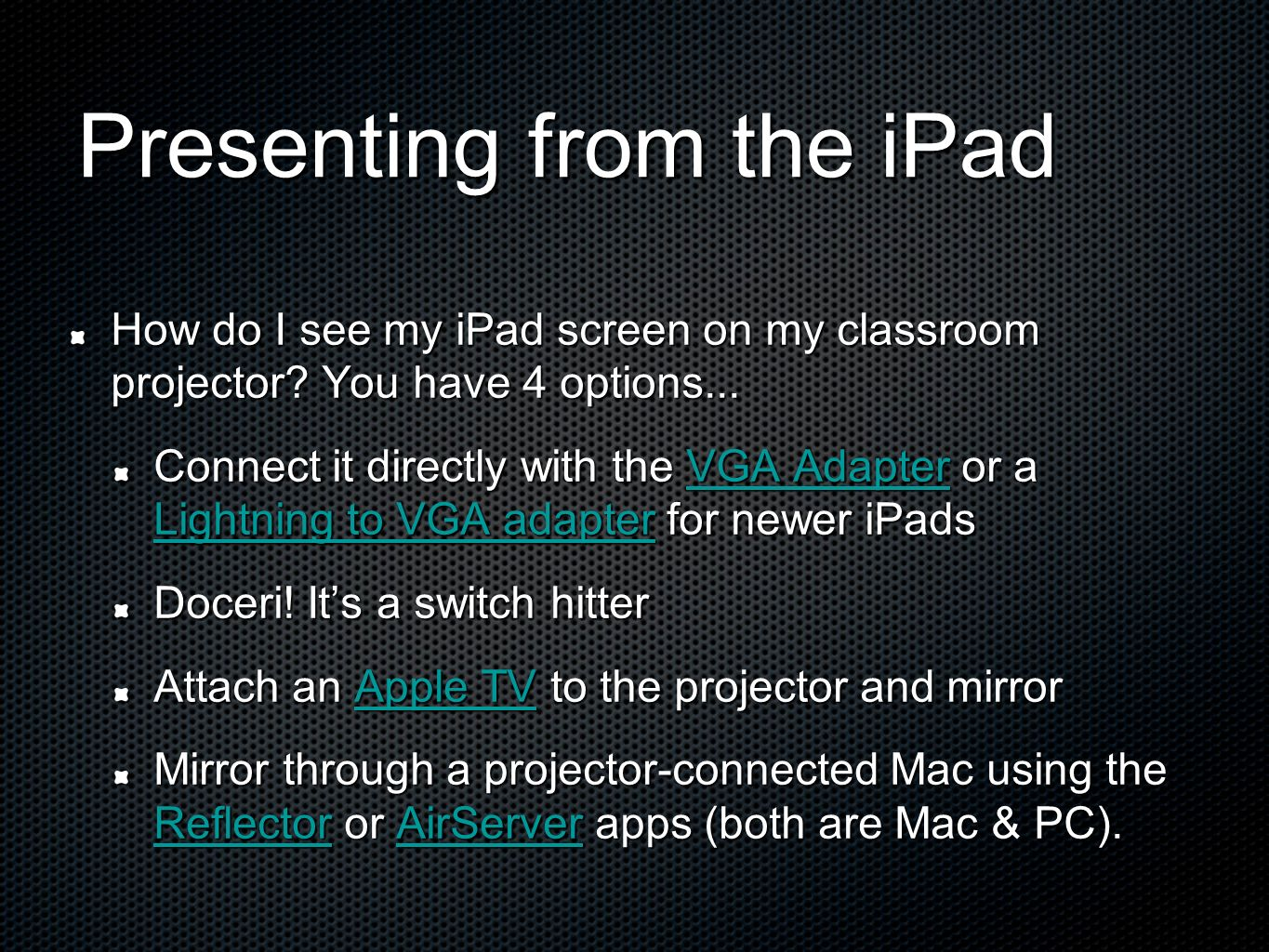 Presenting from the iPad