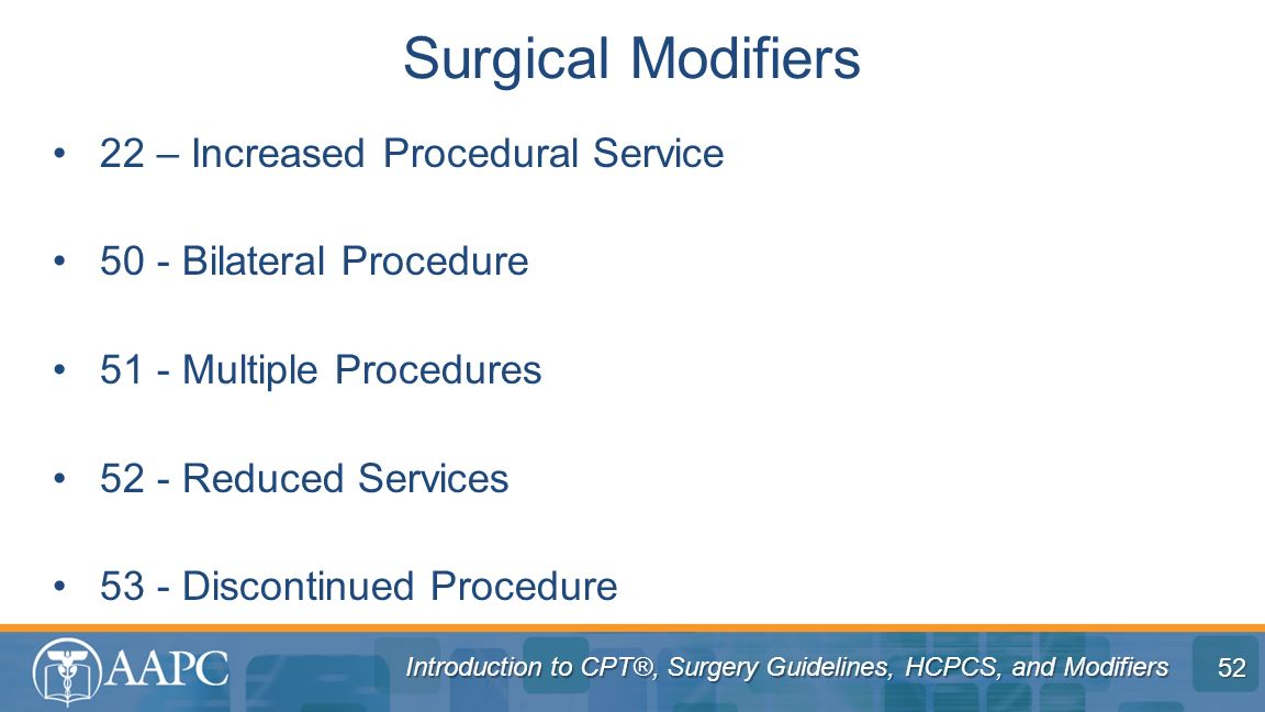 Surgical Modifiers 22 – Increased Procedural Service
