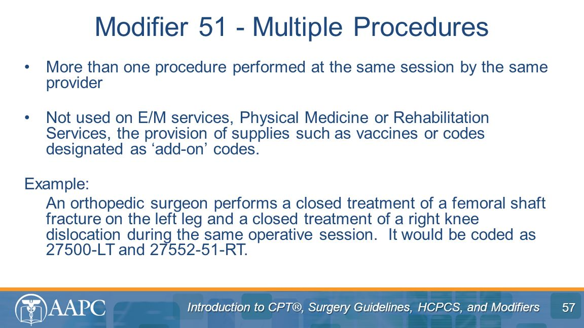 Modifier 51 - Multiple Procedures