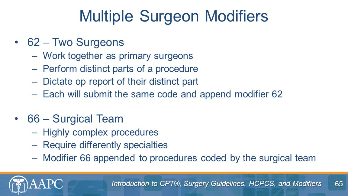 Multiple Surgeon Modifiers