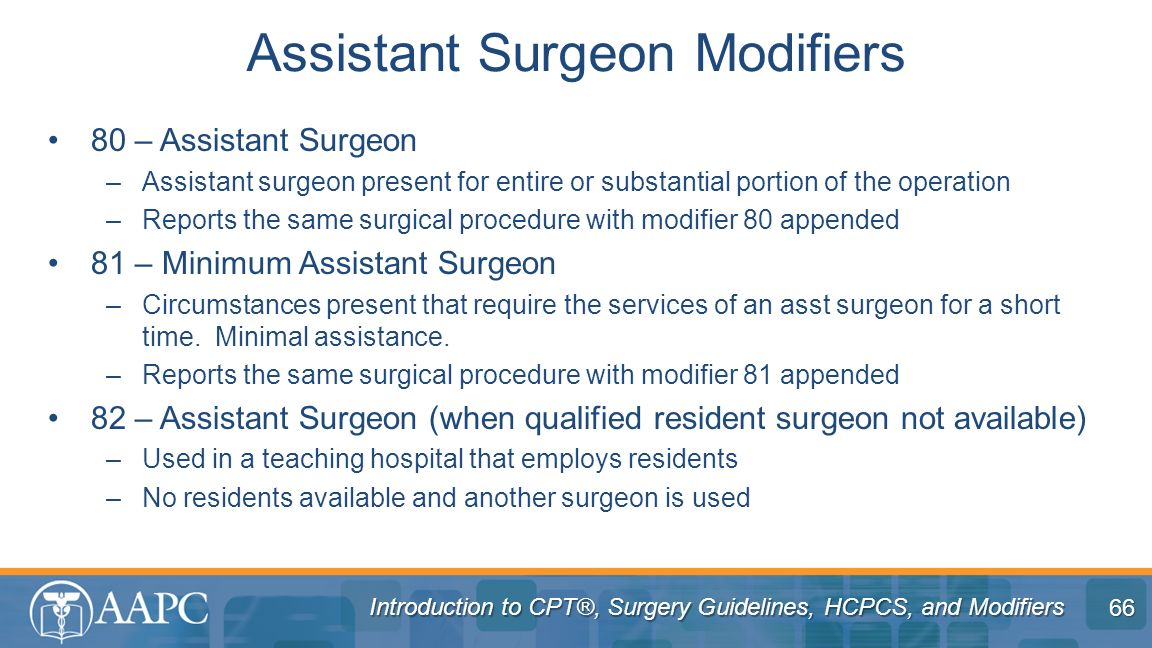 Assistant Surgeon Modifiers
