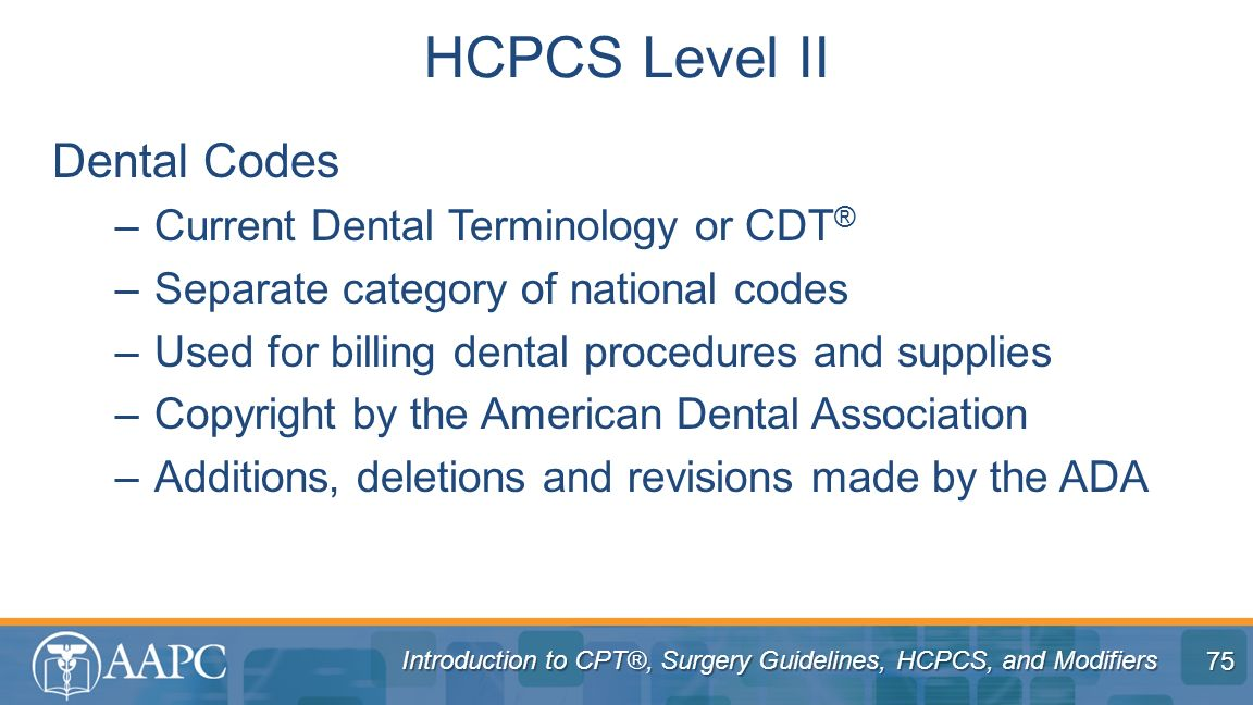 HCPCS Level II Dental Codes Current Dental Terminology or CDT®