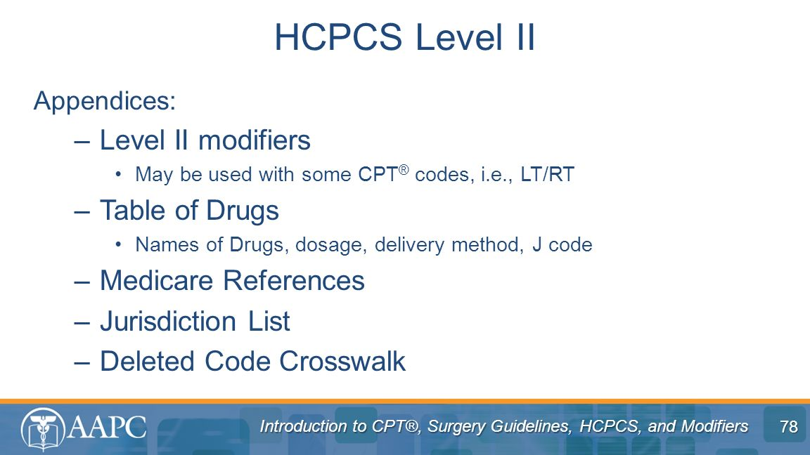HCPCS Level II Level II modifiers Table of Drugs Medicare References