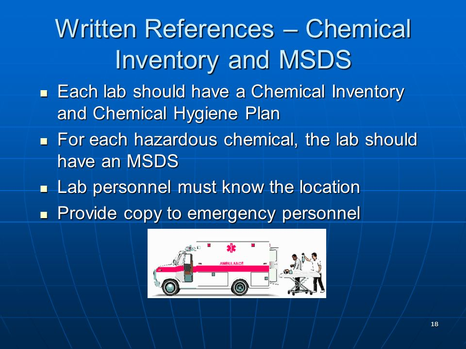 Written References – Chemical Inventory and MSDS
