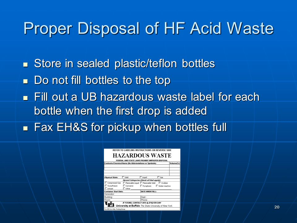 Proper Disposal of HF Acid Waste