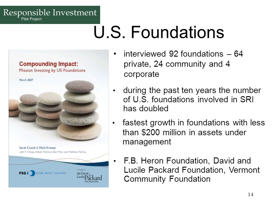 U.S. Foundations interviewed 92 foundations – 64 private, 24 community and 4 corporate.