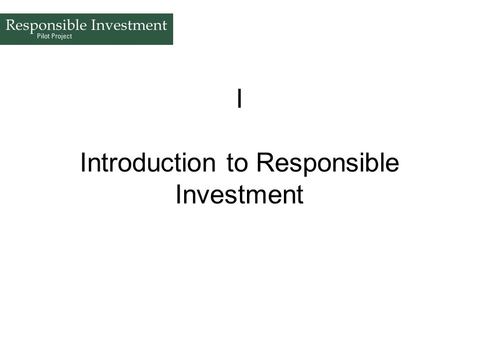 I Introduction to Responsible Investment
